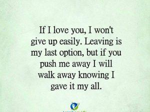 I Won't Give Up Easily