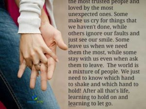 Learning to hold on…. and learning to let go.