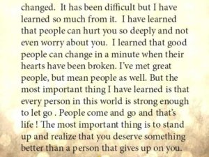 I have lost and I have changed