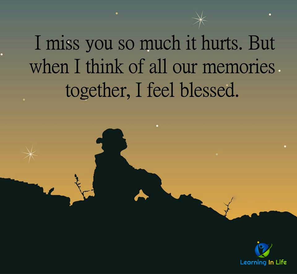 I miss you so much it hurts. - Learning In Life