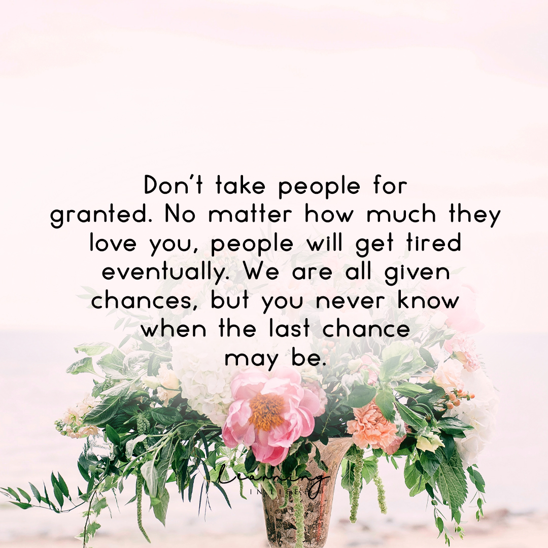 Photo of Don't take people for granted