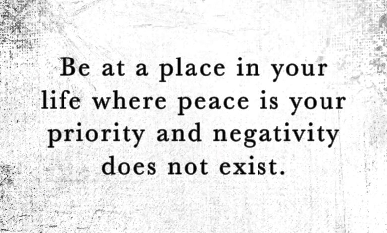 Photo of Peace is your priority